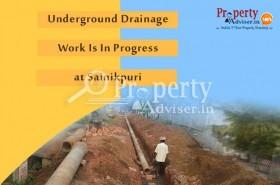 Underground Drainage Work Is In Progress near Residential Houses at Sainikpuri