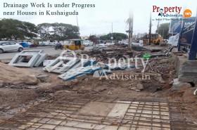 Underground drainage work near houses in kushaiguda
