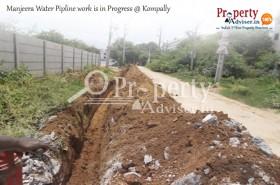 Manjeera Water Pipeline Work is in Progress near New Properties in Kompally