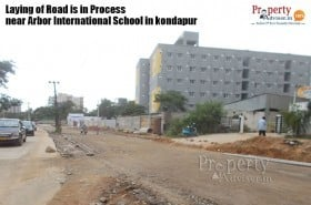 Road work is in process near arbor international school in kondapur