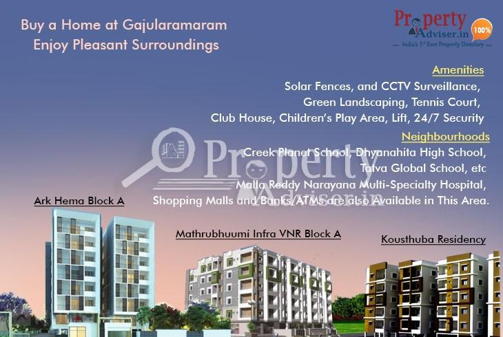 Buy a Home at Gajularamaram, Hyderabad to Enjoy Pleasant Surroundings