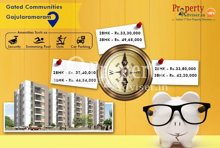 Gated community flats for sale from Rs.33 lakhs at Gajularamaram, Hyderabad
