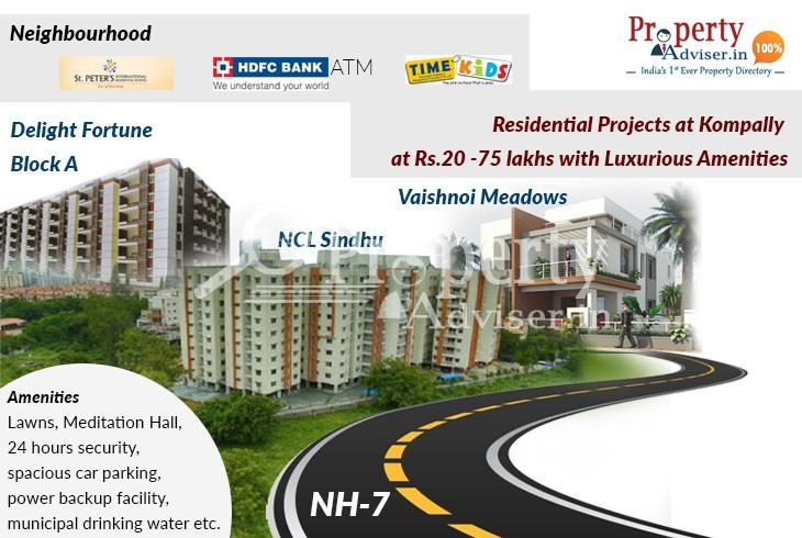 Residential Projects at Kompally at Rs.20 -75 lakhs with Luxurious Amenities