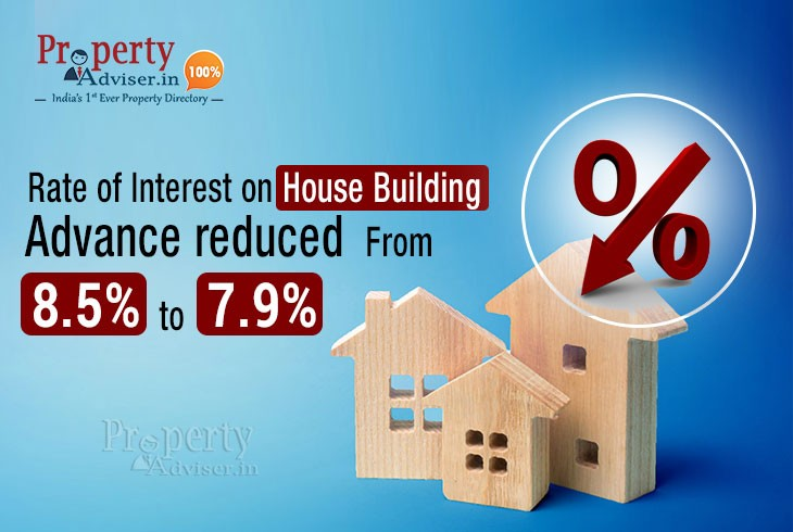 Rate of Interest on House Building Advance reduced from 8.5 to 7.9 percent