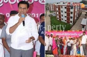 Telangana Minister KTR launched 150 houses at Singam Cheruvu Nacharam